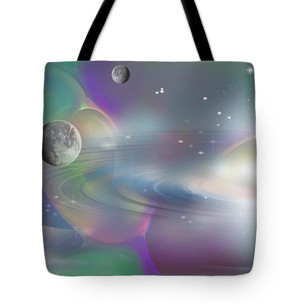 Phil Sadler Tote Bag featuring the digital art Sweet Pea Rising by Phil Sadler