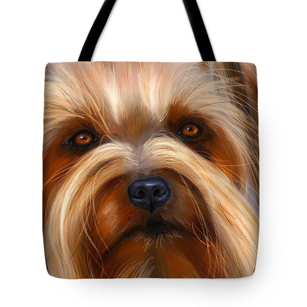 Silky Terrier Tote Bag featuring the painting Sweet Silky Terrier Portrait by Michelle Wrighton