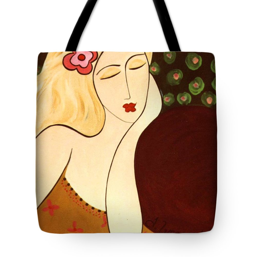 #female #figurative #floral Tote Bag featuring the painting Sweet Sixteen by Jacquelinemari