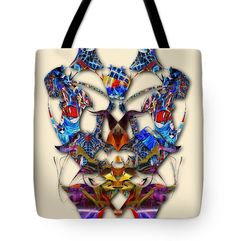 Colorful Tote Bag featuring the digital art Sweet Symmetry - Flu Bugs by Mike Butler