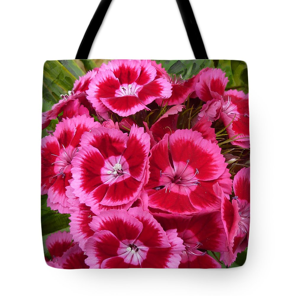 Pink Tote Bag featuring the photograph Sweet William Has A Pink Eye by Steve Taylor