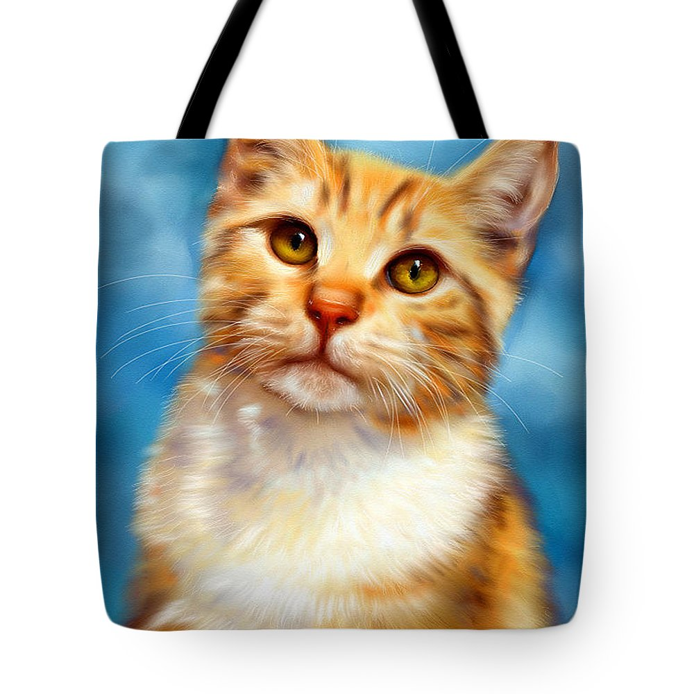 Sweet William Orange Tabby Cat Painting Tote Bag for Sale by