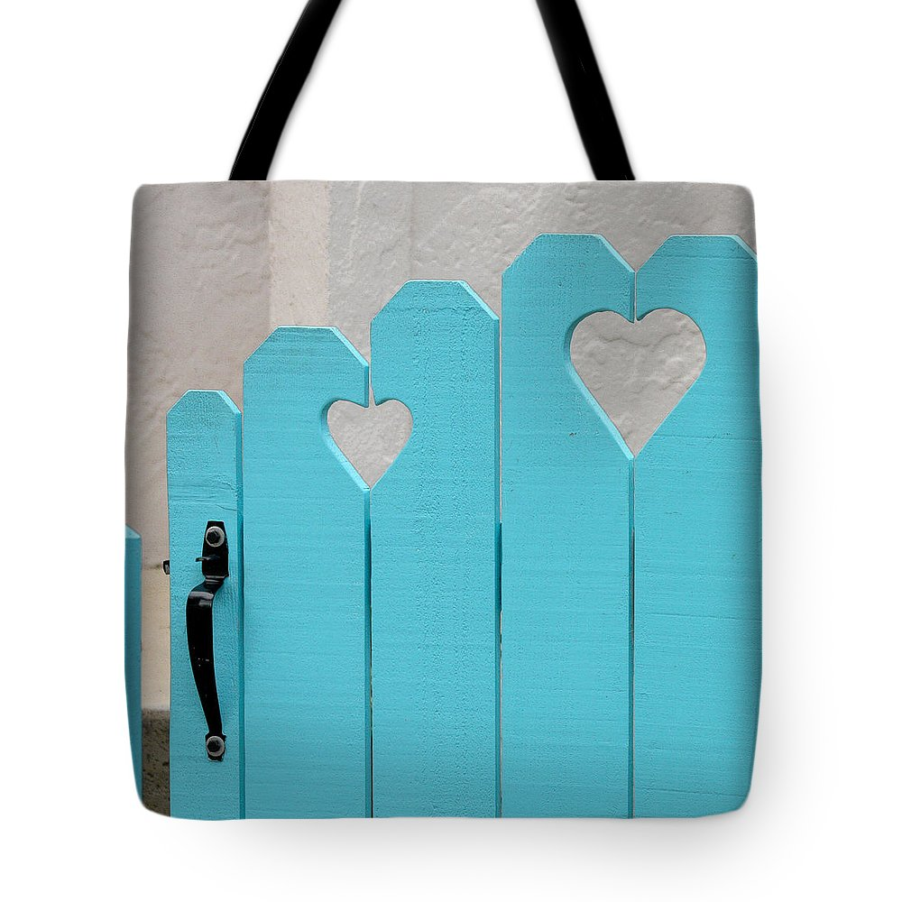 Hearts Tote Bag featuring the photograph Sweetheart Gate by Art Block Collections