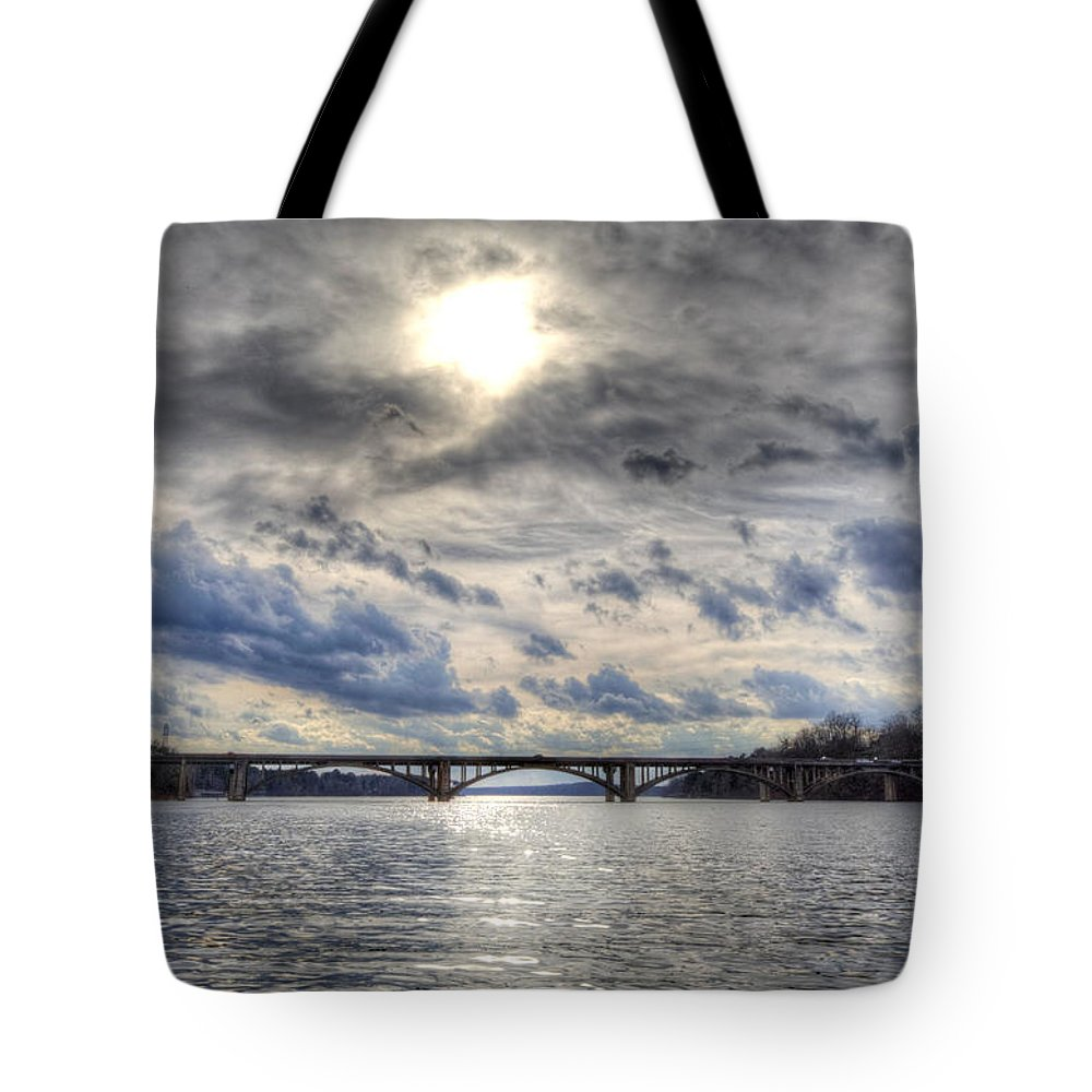 Lake Tote Bag featuring the photograph Swift Island Bridge 4 by Jackie Frick Smith