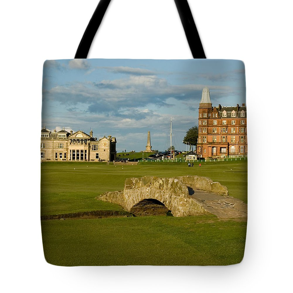 St. Andrews Tote Bag featuring the photograph Swilken Bridge by Jeremy Voisey