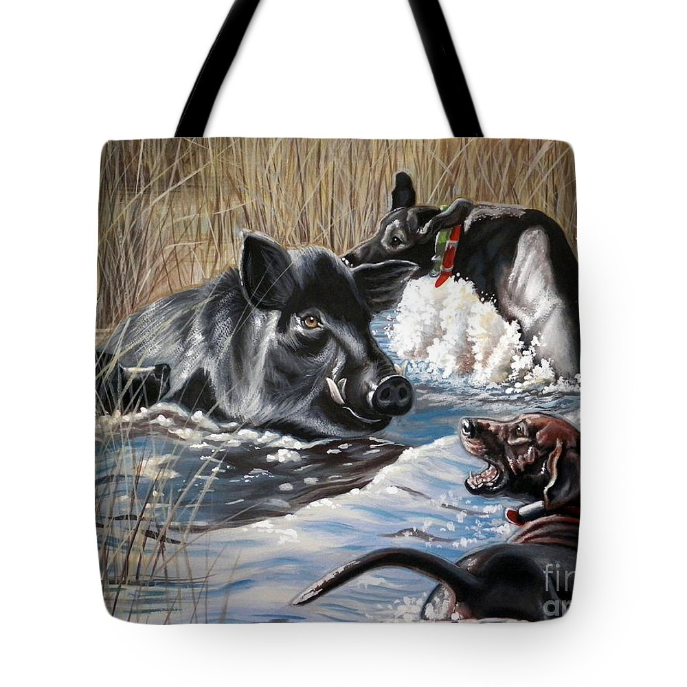 Hog Hunt Tote Bag featuring the painting Swimmer's Ear by Monica Turner