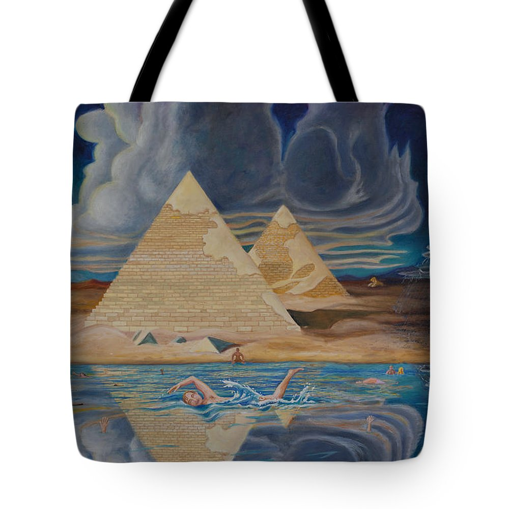 Denial Tote Bag featuring the painting Swimming In That River In Egypt by Matt Konar