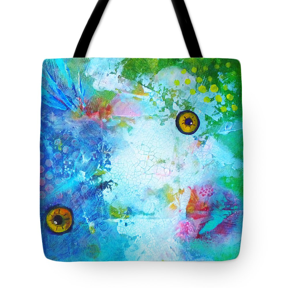Funky Tote Bag featuring the painting Swimming by Nancy Merkle