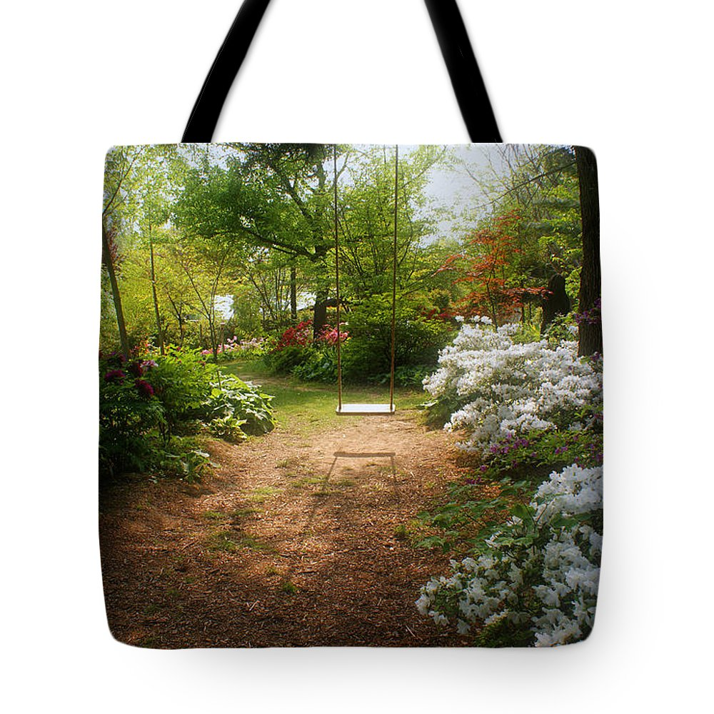 Swing Tote Bag featuring the photograph Swing In The Garden by Sandy Keeton