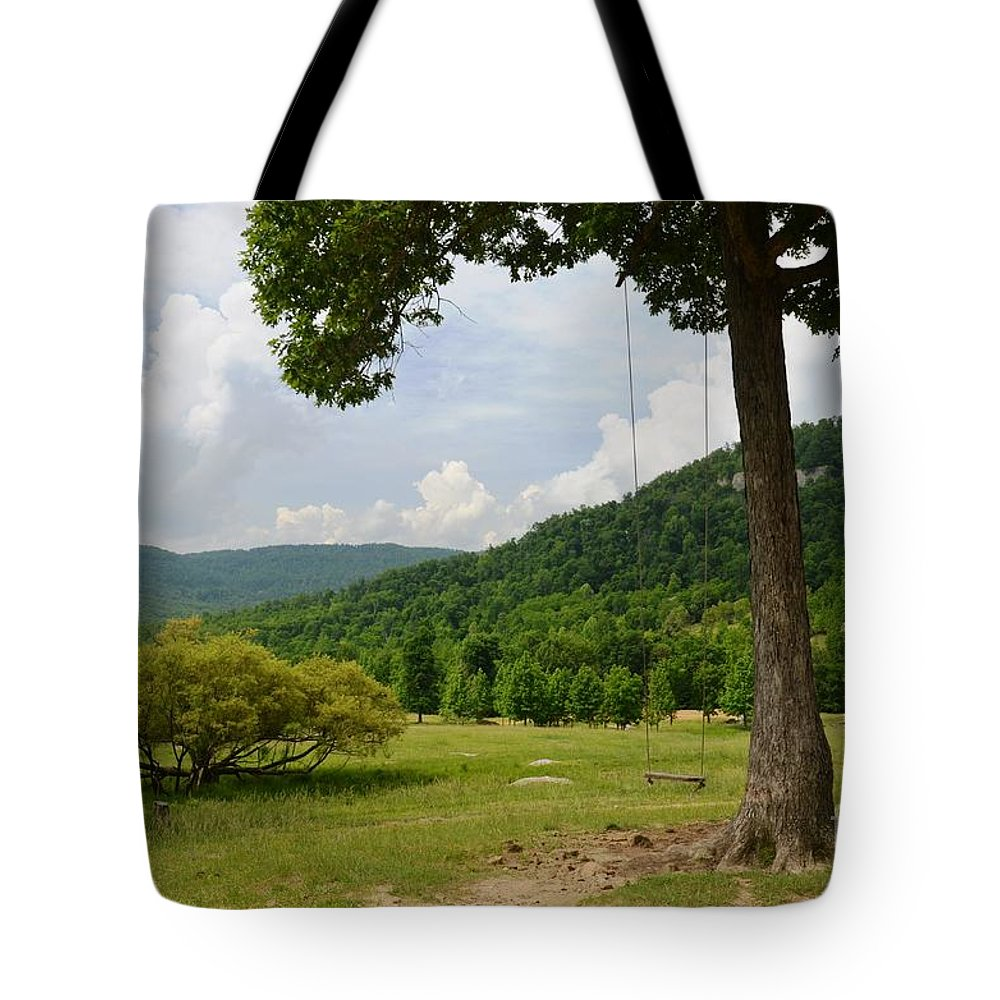 Swing Tote Bag featuring the photograph Swing With A View by Deanna Cagle