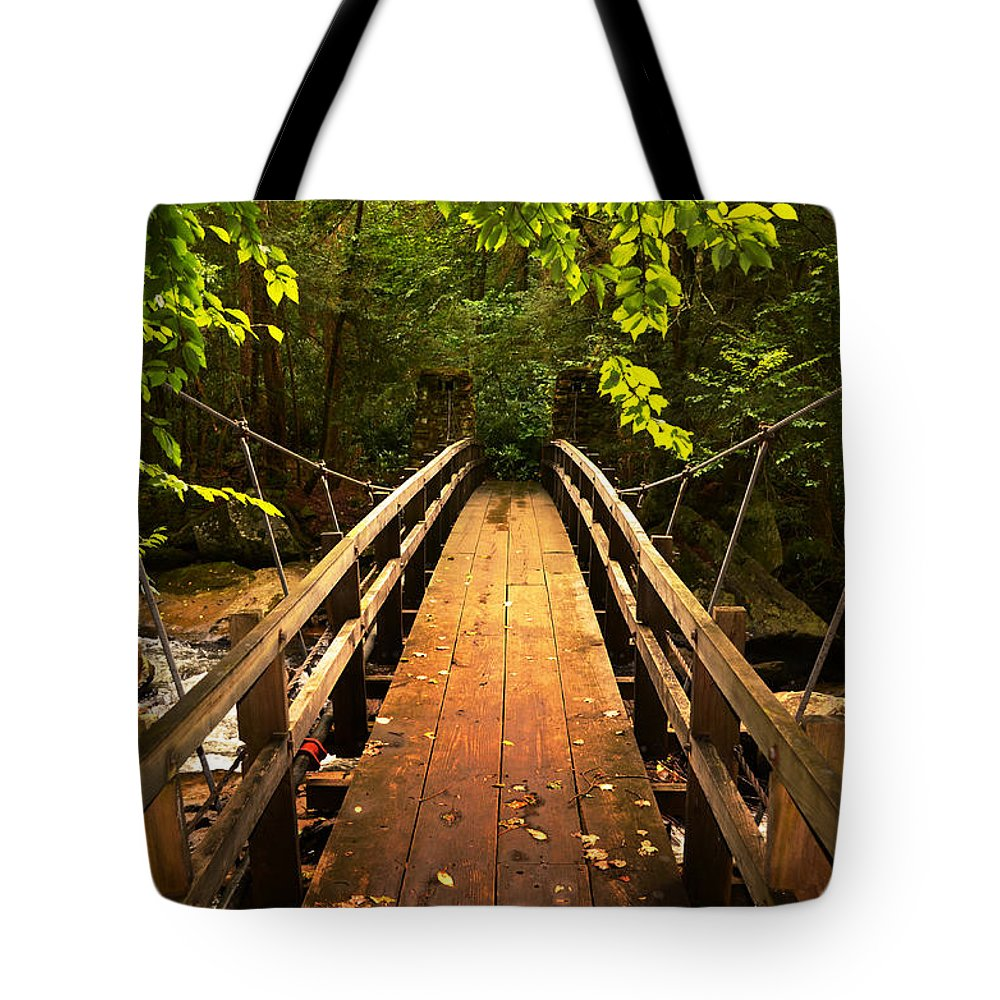 Glade Creek Grist Mill Tote Bag featuring the photograph Swinging Bridge by Lj Lambert