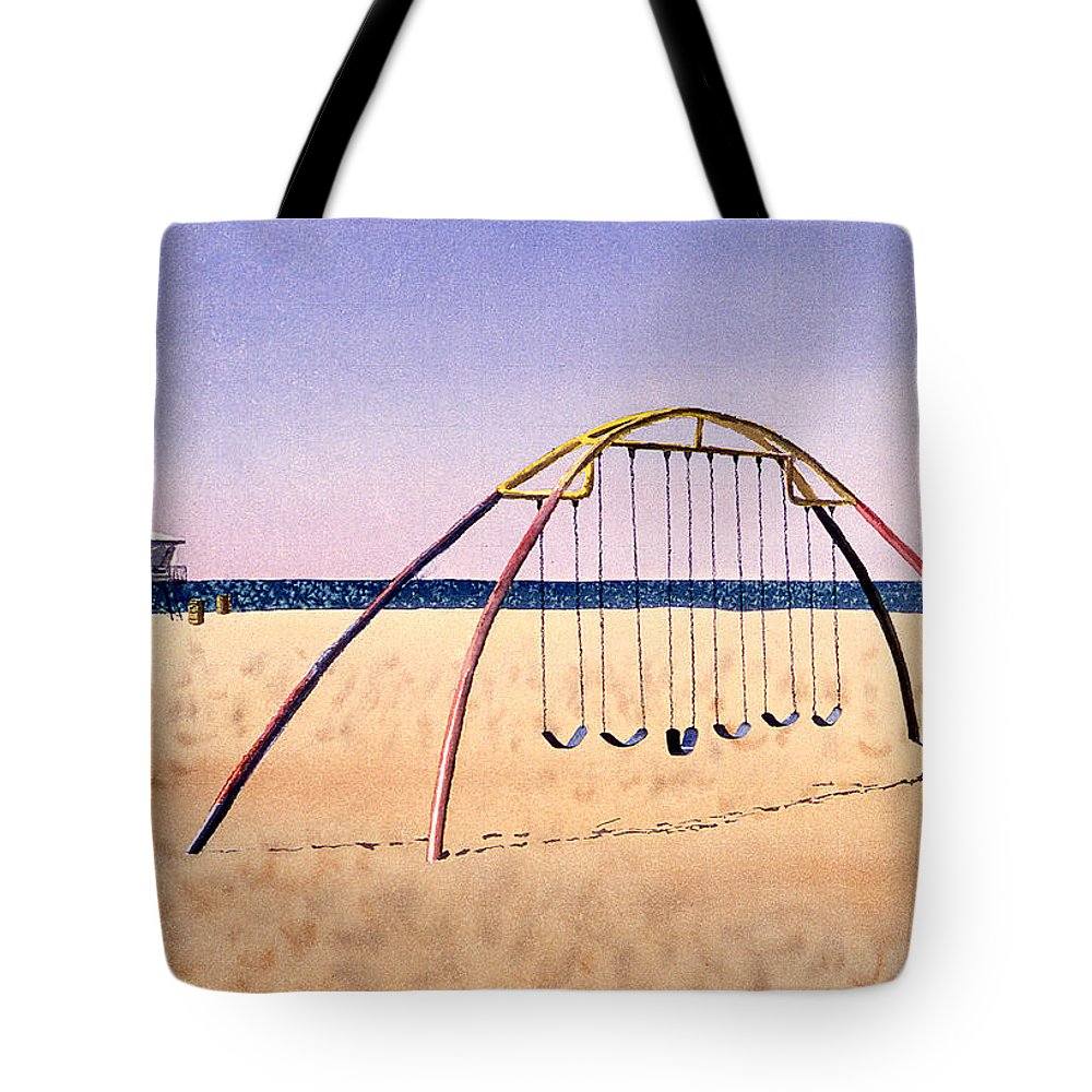 Swingset Tote Bag featuring the painting Swingset On Beach by Melinda Fawver