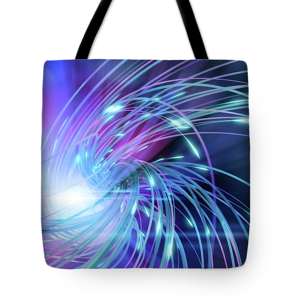 Curve Tote Bag featuring the digital art Swirl Of Lines With Glowing Ends by Maciej Frolow