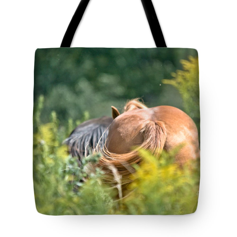 Equine Art Tote Bag featuring the photograph Swishing Tails by Cheryl Baxter