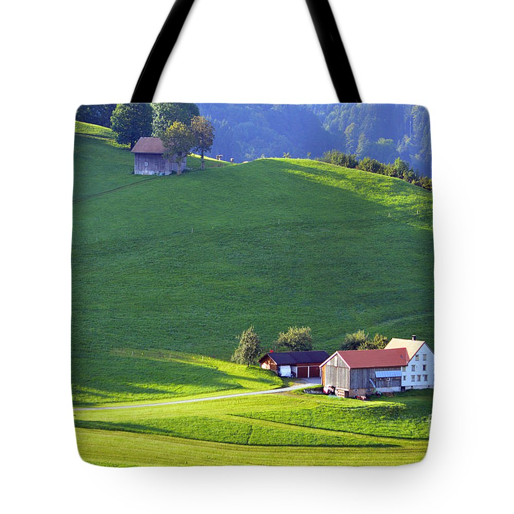 Farm House Tote Bag featuring the photograph Swiss Farm House by Susanne Van Hulst