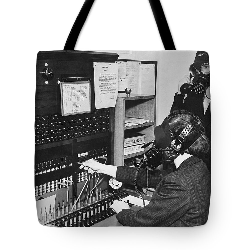 1930s Tote Bag featuring the photograph Switchboard Gas Masks by Underwood Archives