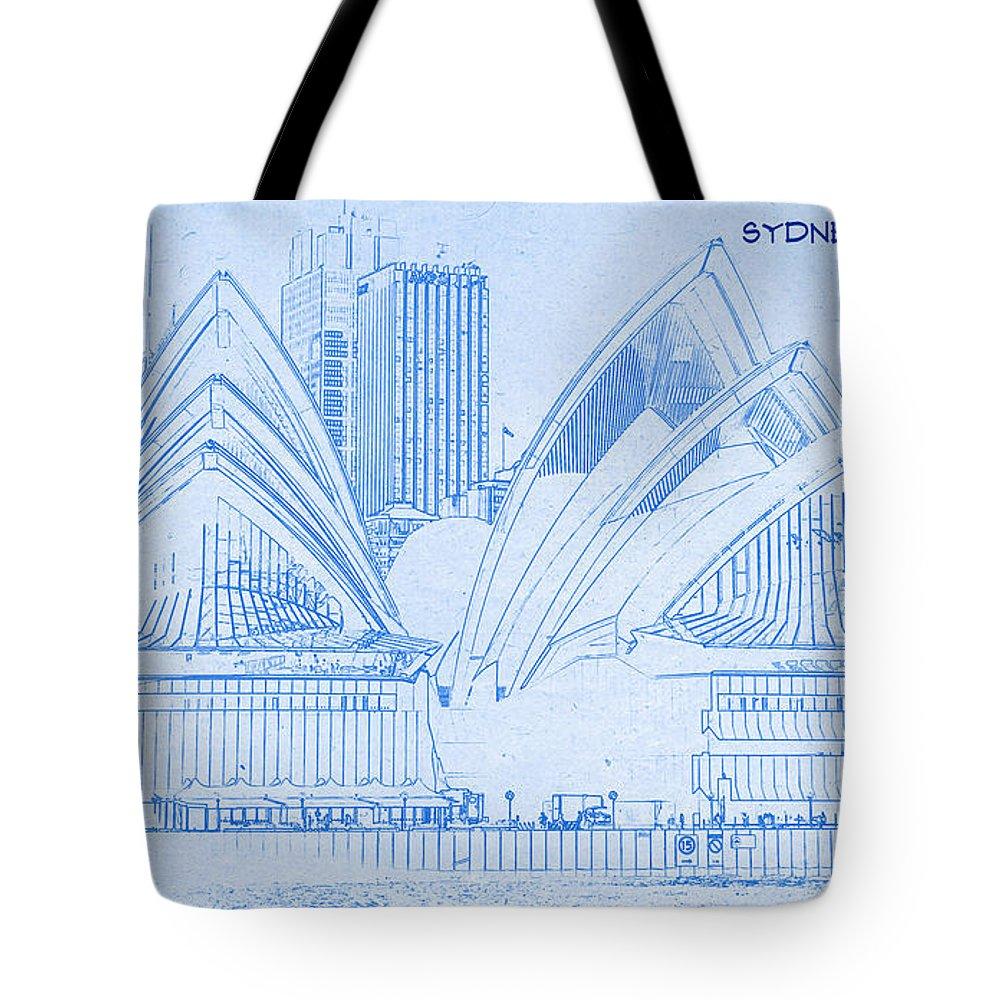 Sydney opera house blueprint drawing tote bag for sale by sydney opera house blueprint drawing tote bag featuring the digital art sydney opera house malvernweather Choice Image