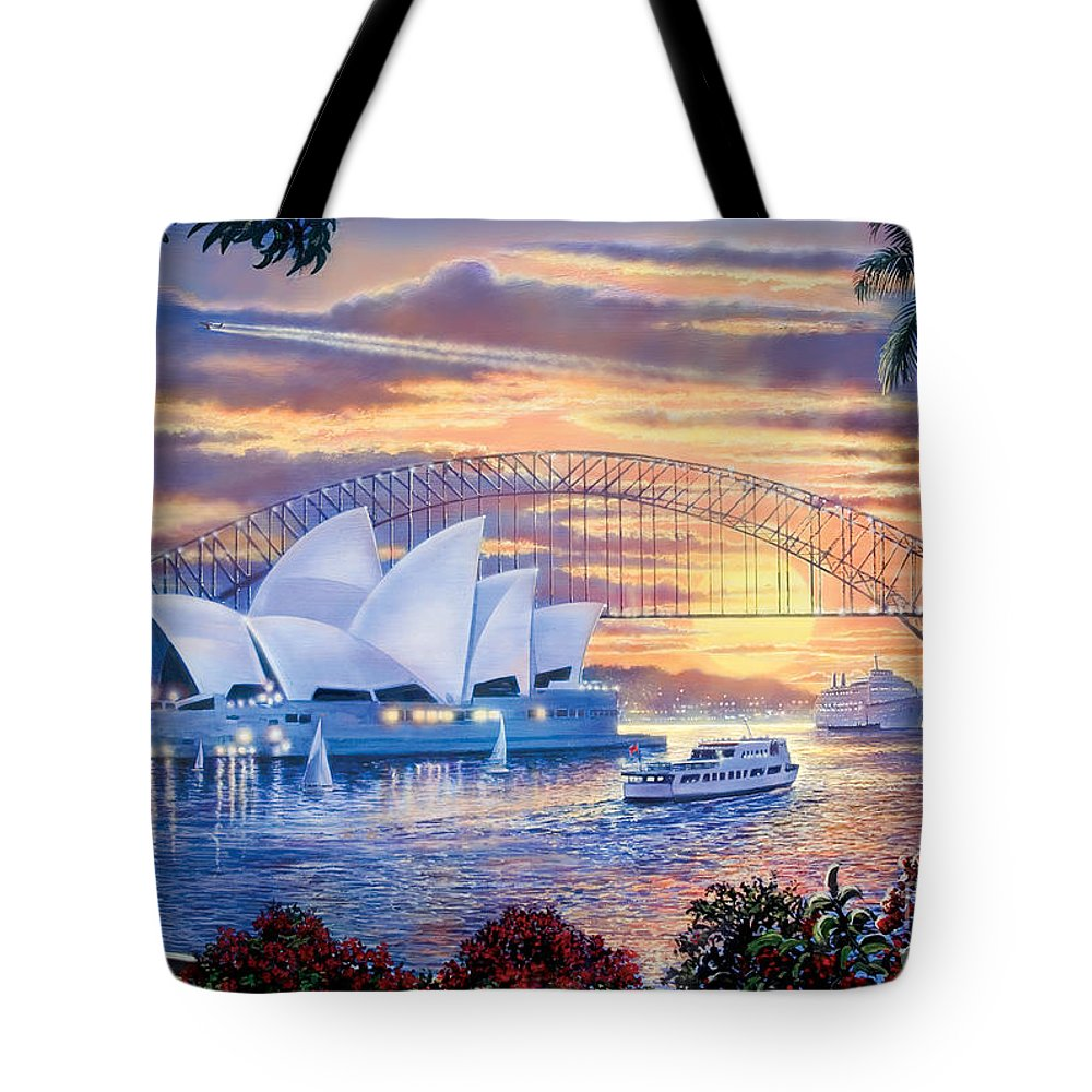 Steve Crisp Tote Bag featuring the digital art Sydney Opera House by Steve Crisp
