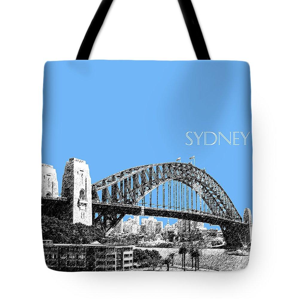 Architecture Tote Bag featuring the digital art Sydney Skyline 2 Harbor Bridge - Light Blue by DB Artist