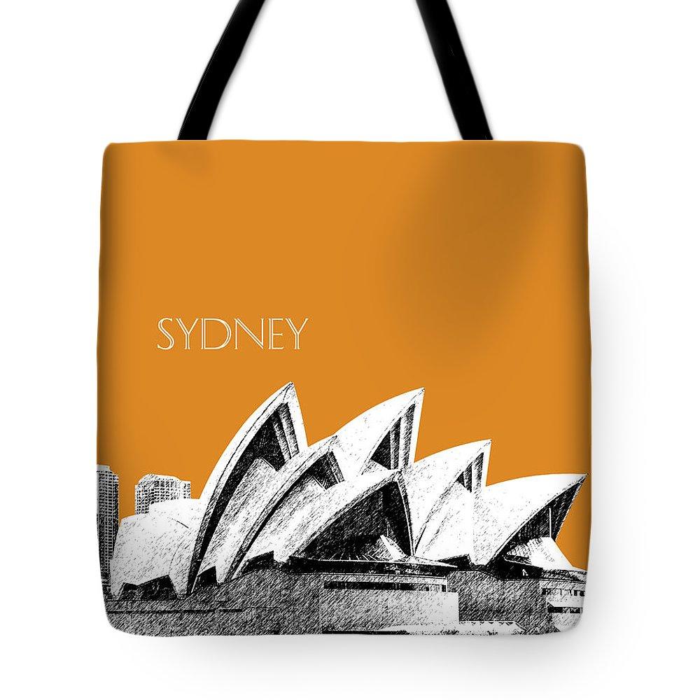 Architecture Tote Bag featuring the digital art Sydney Skyline 3 Opera House - Dark Orange by DB Artist