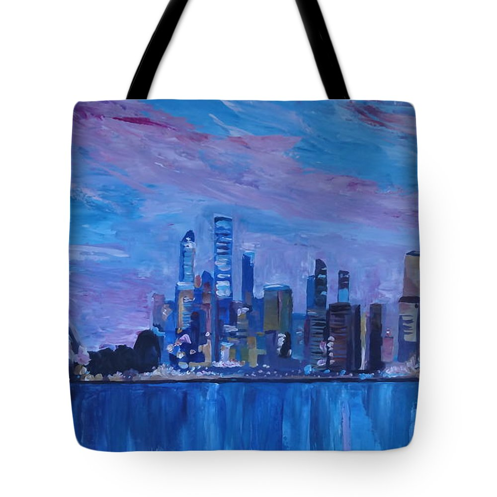 Sydney Tote Bag featuring the painting Sydney Skyline With Opera House At Dusk by M Bleichner