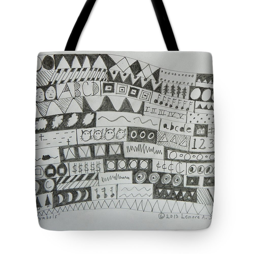 Abstract Tote Bag featuring the drawing Symbols by Lenore Senior
