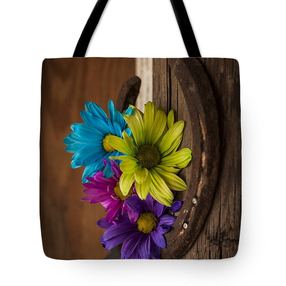 Landscapes Tote Bag featuring the photograph Symbols Of A Cowgirl's Love by Amber Kresge