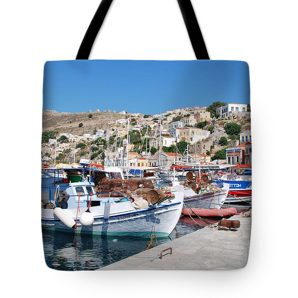 Symi Tote Bag featuring the photograph Symi Island Greece by David Fowler