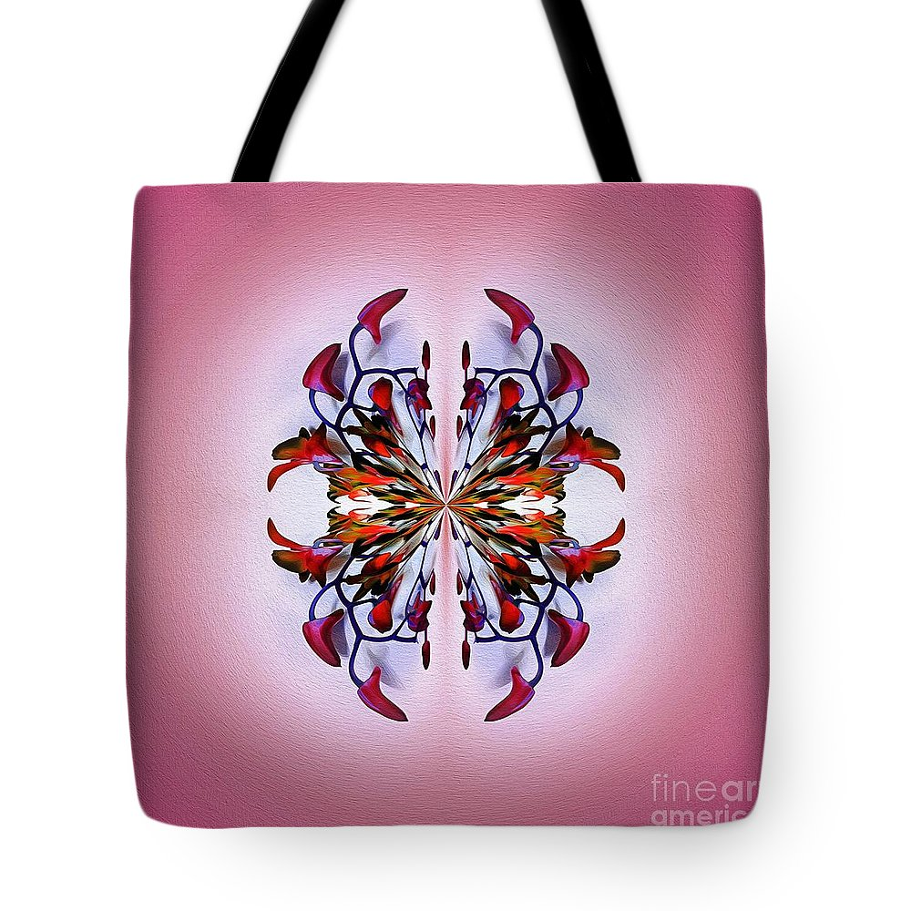 Photography Tote Bag featuring the photograph Symmetrical Orchid Art - Reds by Kaye Menner