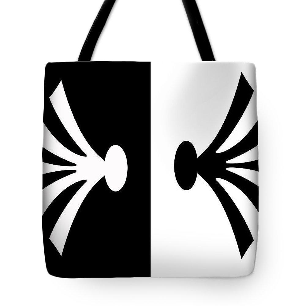 Black And White Tote Bag featuring the painting Symmetry In Black And White Digital Painting by Georgeta Blanaru
