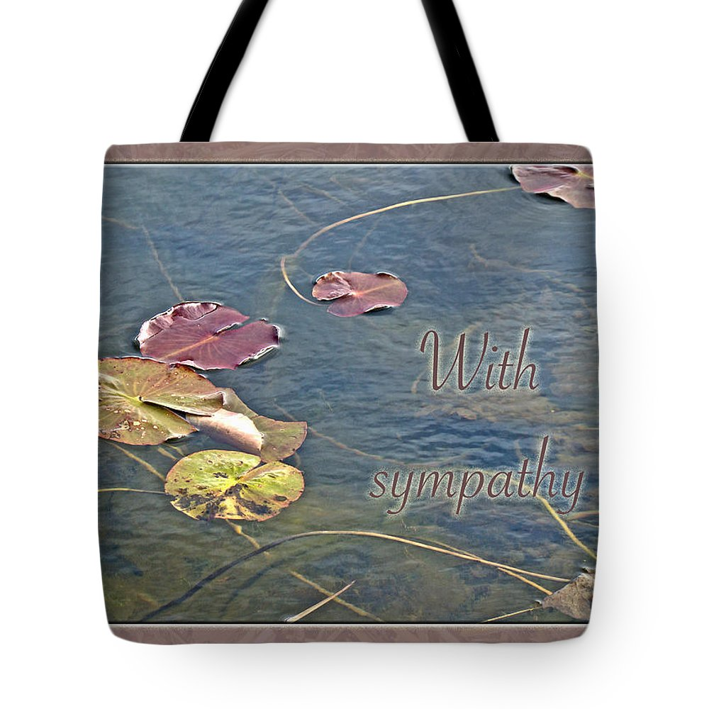 Sympathy Tote Bag featuring the photograph Sympathy Greeting Card - Autumn Lily Pads by Mother Nature