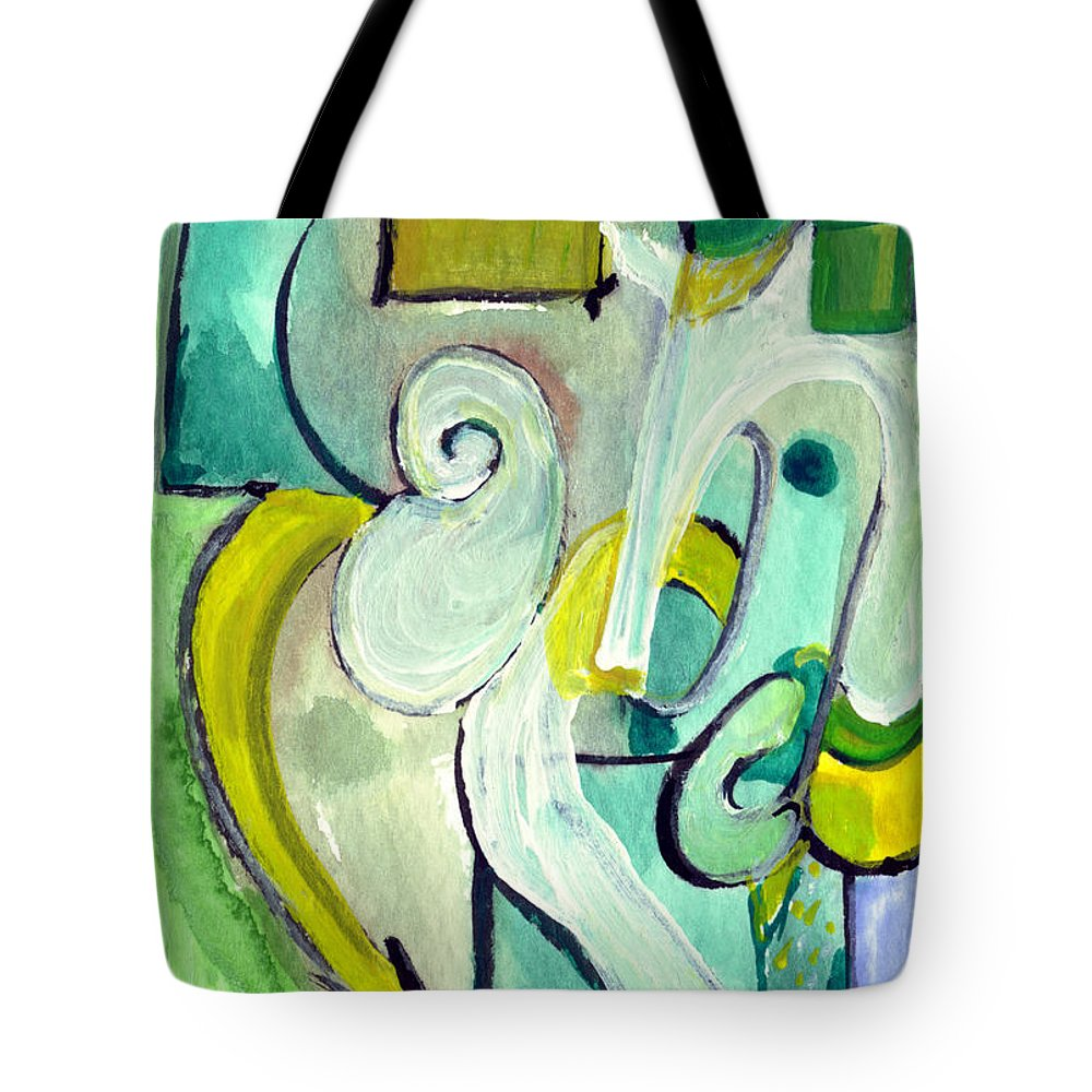 Abstract Art Tote Bag featuring the painting Symphony In Green by Stephen Lucas