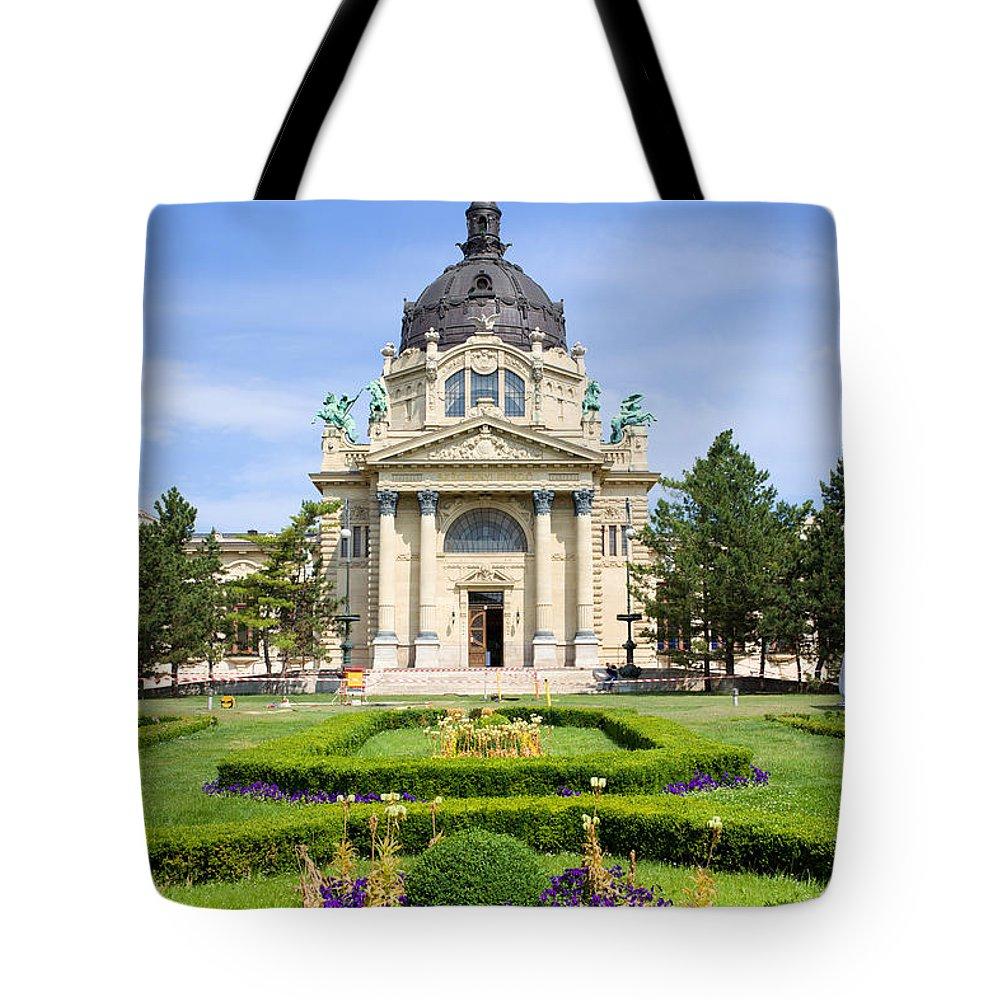 Szechenyi Tote Bag featuring the photograph Szechenyi Baths In Budapest by Artur Bogacki