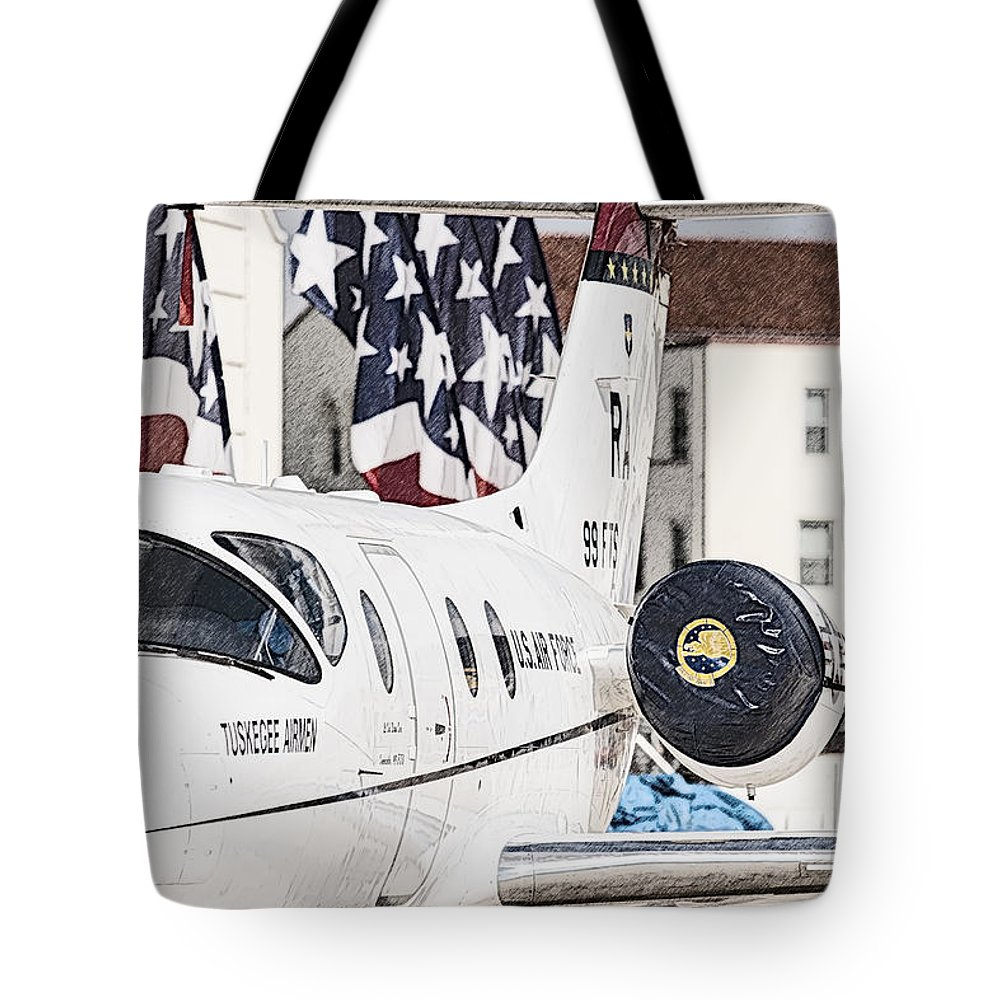 Transportation Tote Bag featuring the photograph T-1a Jayhawk by Melinda Ledsome