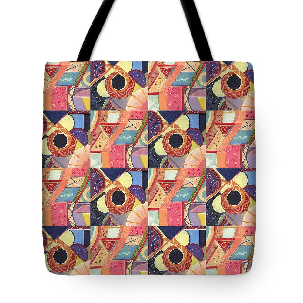 Abstract Tote Bag featuring the painting T J O D Tile Variations 19 by Helena Tiainen