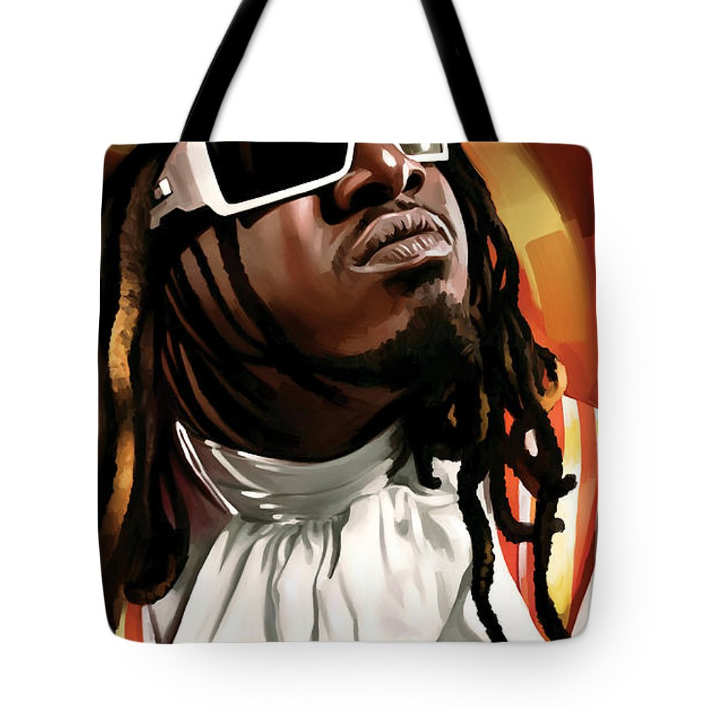 T-pain Paintings Tote Bag featuring the painting T-pain Artwork by Sheraz A
