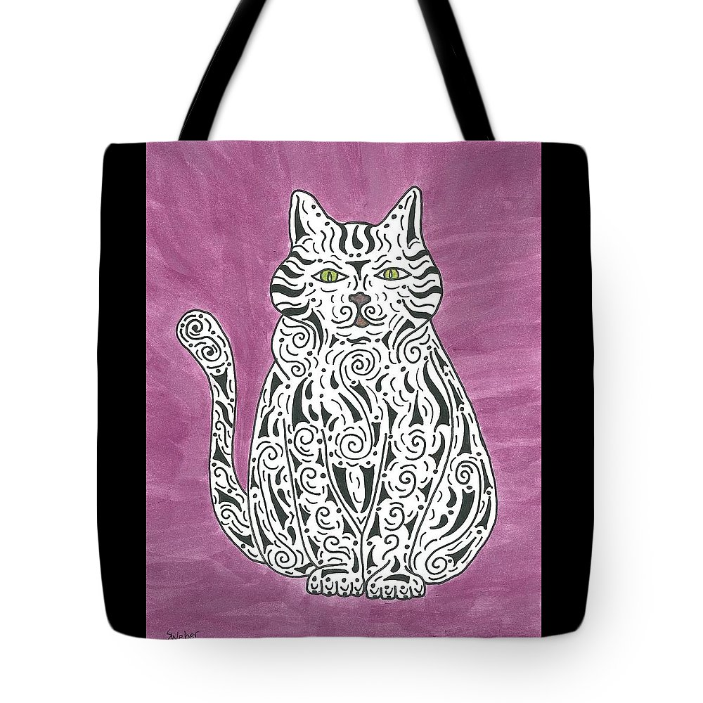 Cat Tote Bag featuring the painting Tabby Cat by Susie WEBER