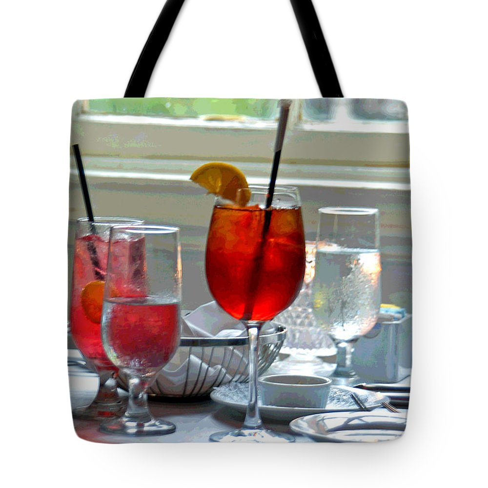Glass Tote Bag featuring the photograph Table By The Window by Suzanne Gaff