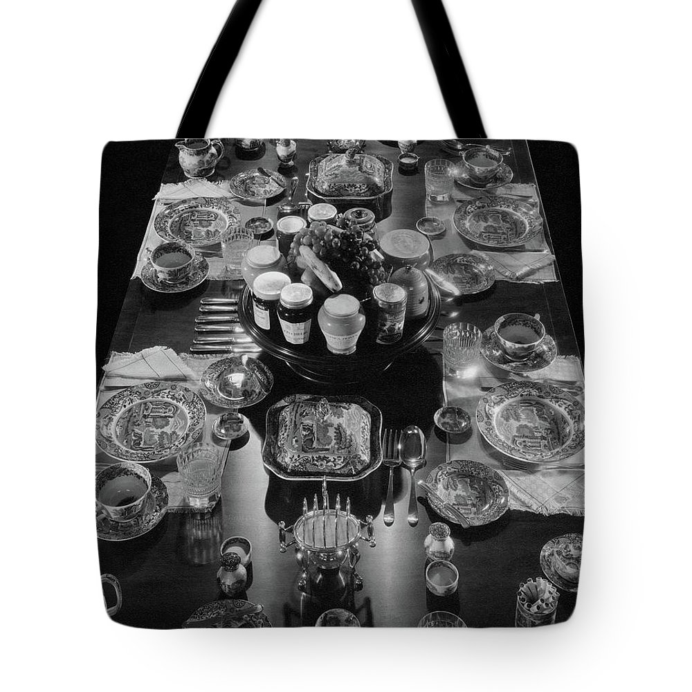 Interior Tote Bag featuring the photograph Table Settings On Dining Table by The 3