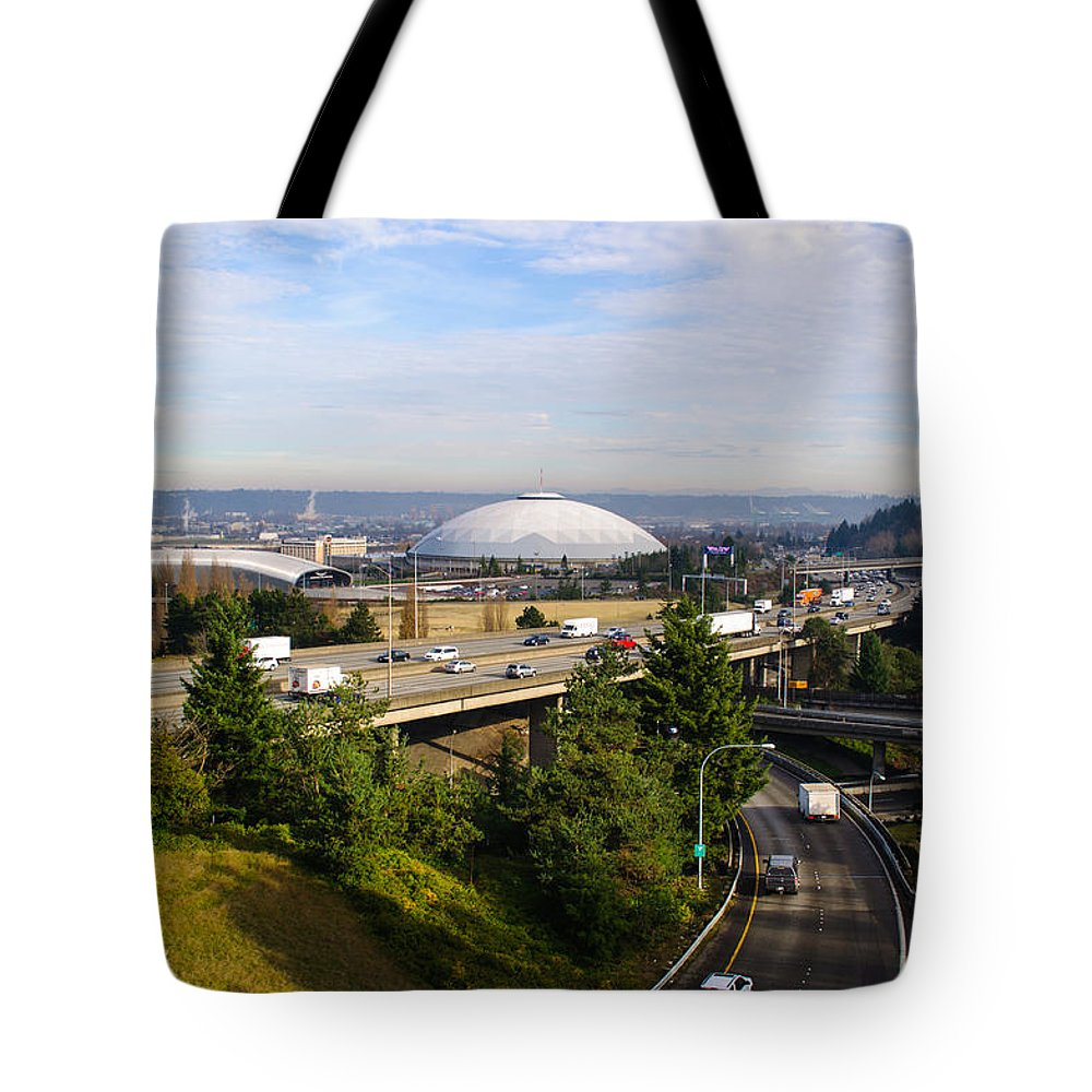 Tacoma Tote Bag featuring the photograph Tacoma Dome And Auto Museum by Tikvah's Hope