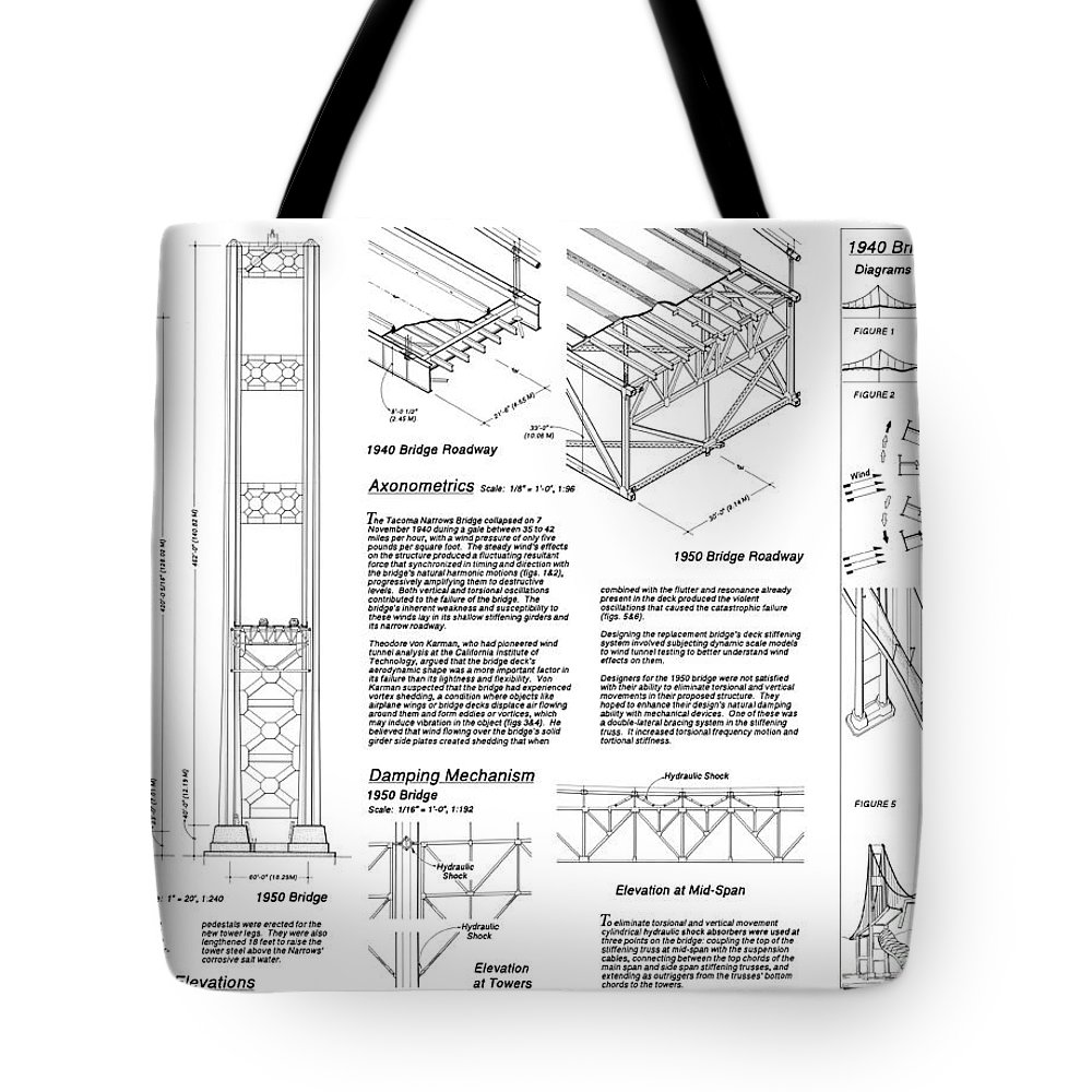 1900s Tote Bag featuring the photograph Tacoma Narrows Bridge Habs P2 by Photo Researchers