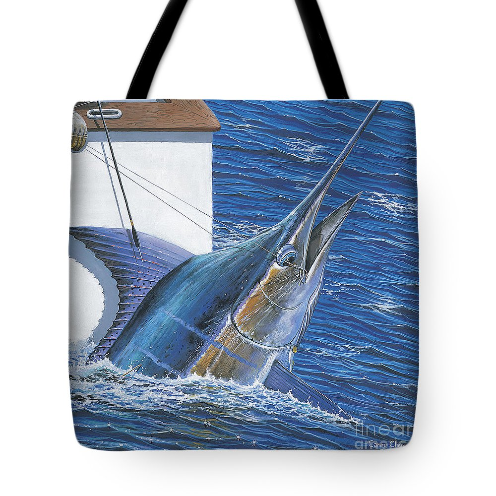 Marlin Tote Bag featuring the painting Tagged Off00105 by Carey Chen