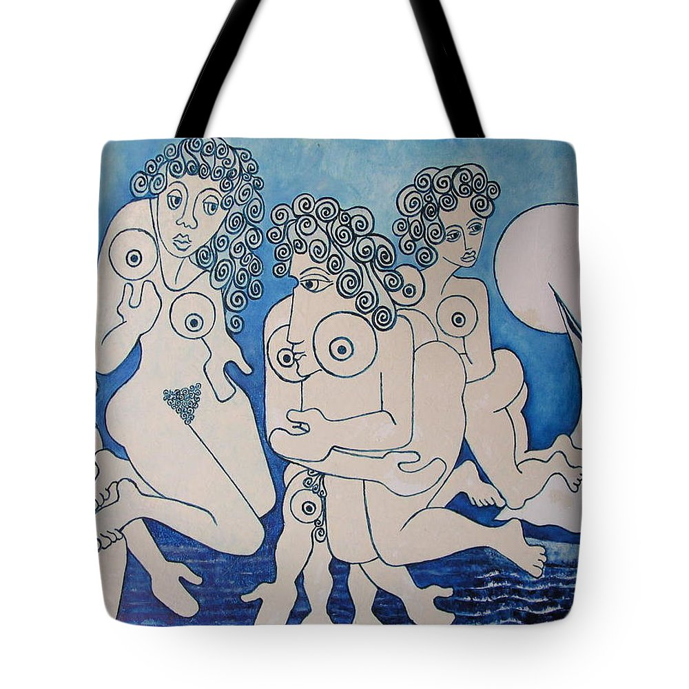 Painting Tote Bag featuring the painting Tagus Muses by Jose Alberto Gomes Pereira
