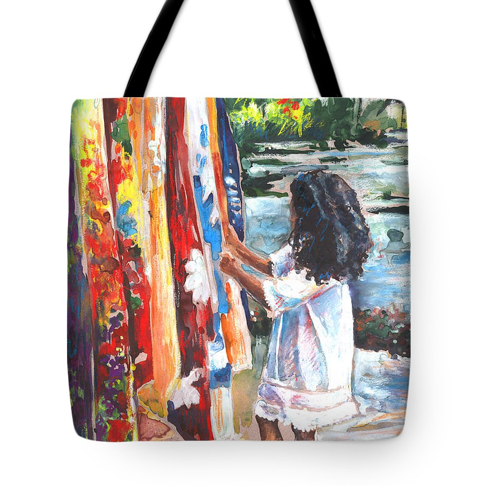 Travel Tote Bag featuring the painting Tahitian Girl With Pareos by Miki De Goodaboom