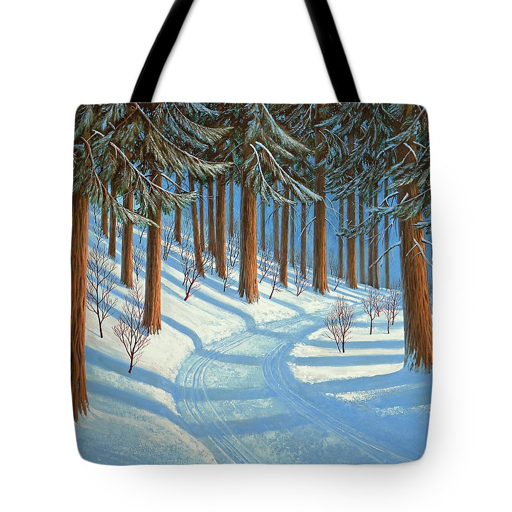 Tahoe Tote Bag featuring the painting Tahoe Forest In Winter by Frank Wilson
