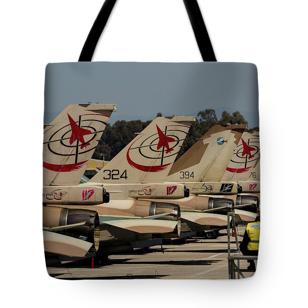 Greece Tote Bag featuring the photograph Tail Fins Of Israeli Air Force F-16`s by Timm Ziegenthaler