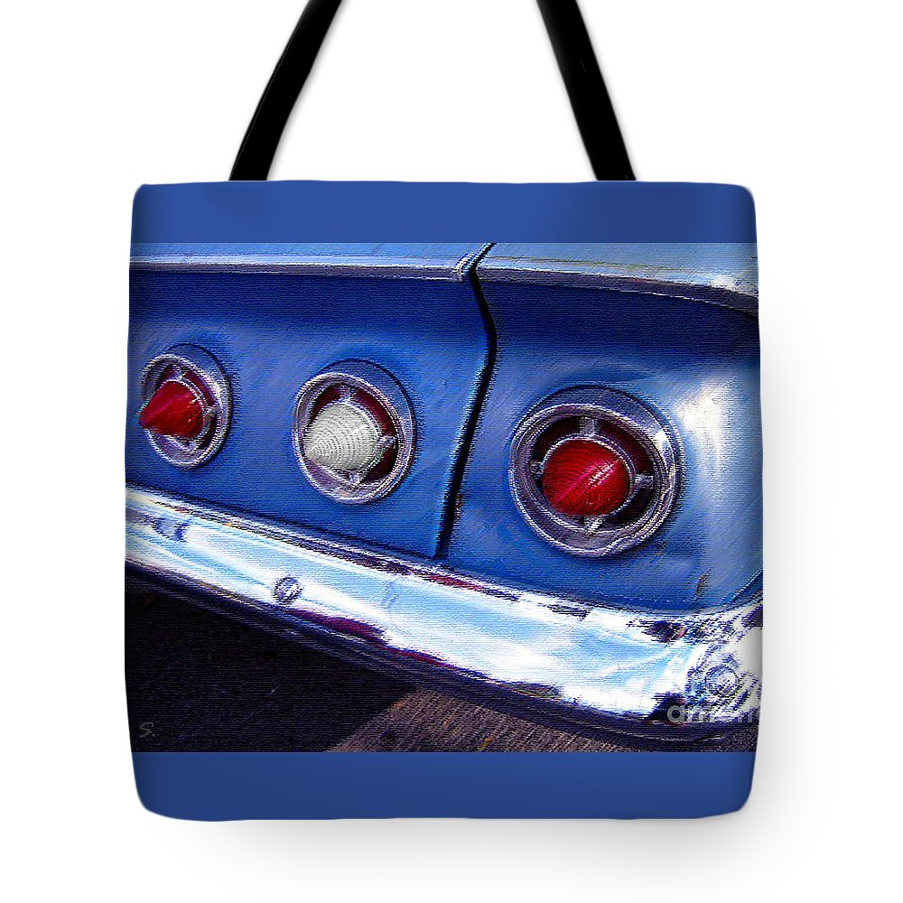Cars Tote Bag featuring the photograph Tail Lights And Fenders by Nina Silver
