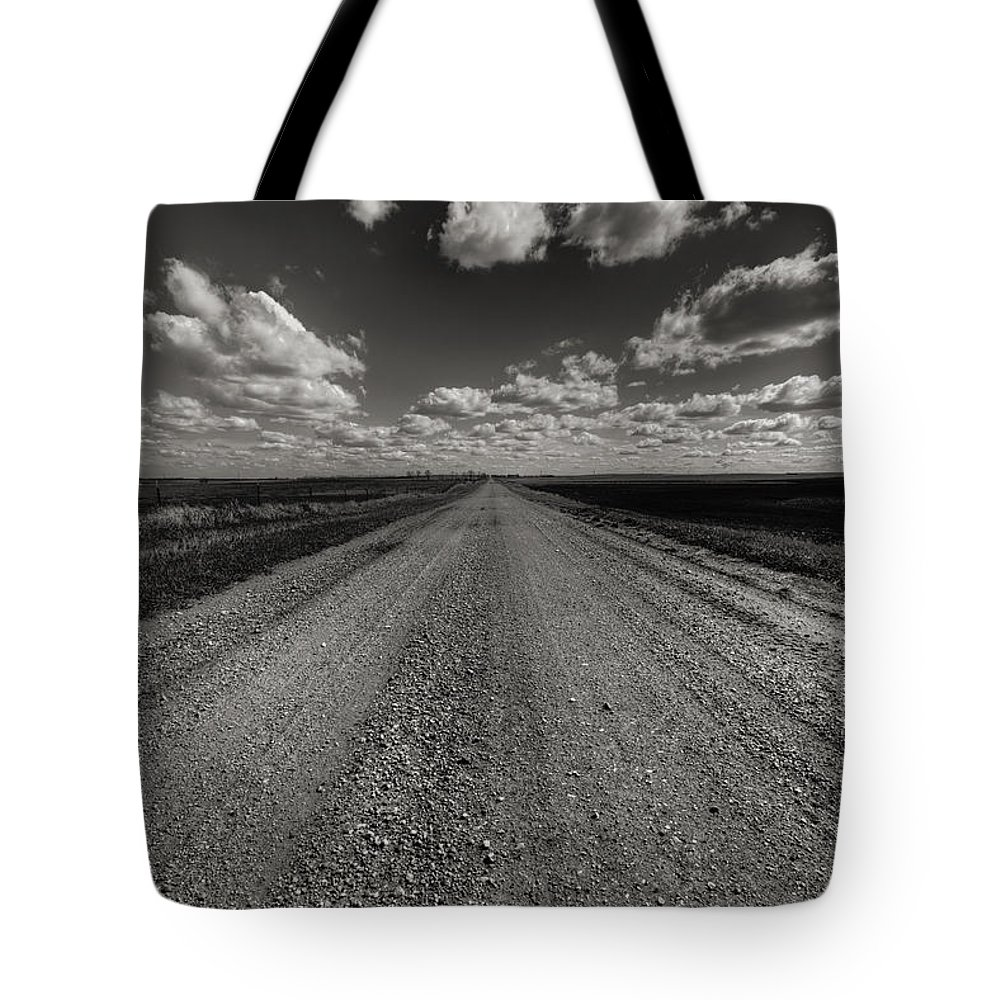 Suth Dakota Tote Bag featuring the photograph Take A Back Road Bnw Version by Aaron J Groen