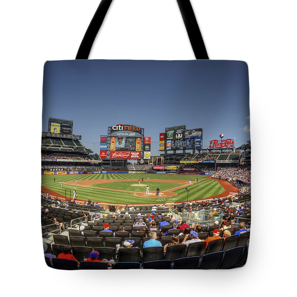 Citi Field Tote Bag featuring the photograph Take Me Out To The Ballgame by Evelina Kremsdorf