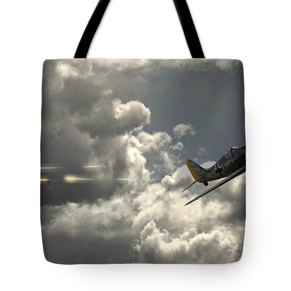 Raf Spitfire Tote Bag featuring the digital art Take The Shot by J Biggadike